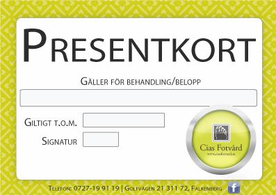 Presentkort på fotvård - Cias Fotvård i Falkenberg